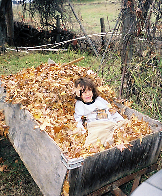 Andrew in the leaves