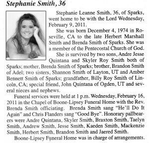 Obituary Stephanie Smith